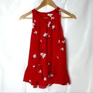 Joie Red Flower Silk Flowing Tank Top Size S